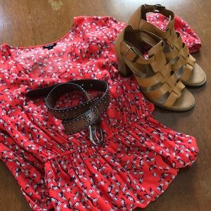 A.n.a red and blue flower print dress